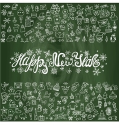 New year greeting cardLinear iconsChalkboard vector image vector image