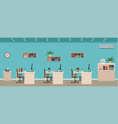 Office room interior including three workspaces vector