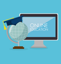 on line education with desktop computer vector image