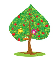 One of Four seasons - summer - tree and funny bird vector image