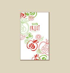 Original card with halves of apples delicious vector