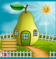 Pear house in garden vector