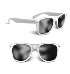 realistic white sun glasses isolated on white vector image
