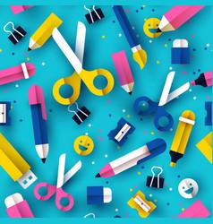 school seamless pattern fun papercut kid supplies vector image