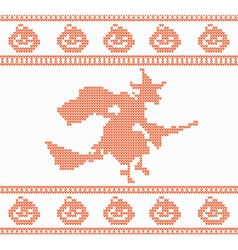 Seamless Knitted Halloween Pattern with Witch vector image