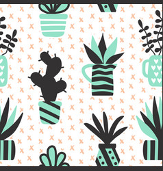 Seamless pattern with black succulents vector