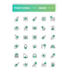Set of 30 line icons music vector
