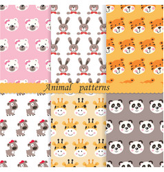 Set of cute animals seamless patterns vector