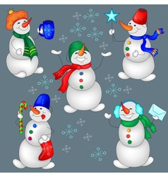Set Of Snowman vector image