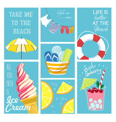 set summer cards vector image