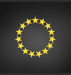 stars in circle icon isolated on black background vector image