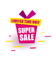Sticker super sale red gift box says super sale vector