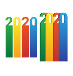 Stylized bright inscription 2020 year vector