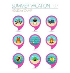 Summer camping pin map icon set Holiday vector
