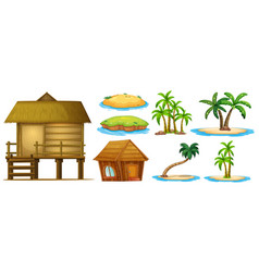 Summer set different shapes island and hut vector