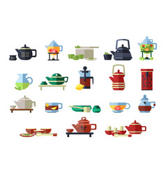 teapots set tea ceremony tools vector image