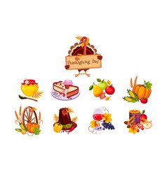 Thanksgiving day traditional dishes set turkey vector