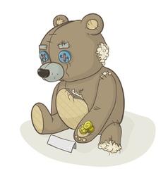 Torn beggar teddy bear vector