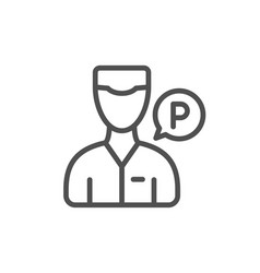 Valet servant line icon parking person sign vector