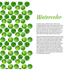 Watercolor background with green circles abstract vector