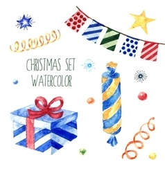Watercolor christmas cute collection vector