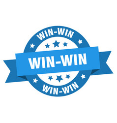 win-win ribbon win-win round blue sign win-win vector image