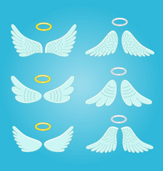 Wings and nimbus feather angels wings vector