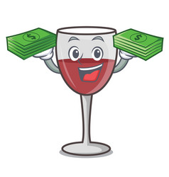 With money bag wine mascot cartoon style vector
