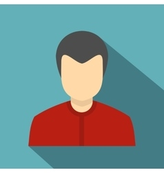 Young man in a red shirt icon flat style vector