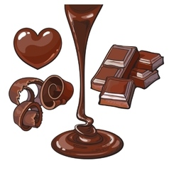 Set of chocolate - heart shaped candy shaving vector image