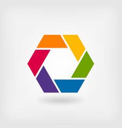 abstract symbol rainbow hexagon vector image vector image