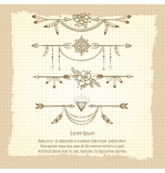 Boho dividers with ethnic elements vector image vector image