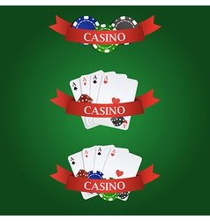 casino elements ribbon playing cards dices and vector image vector image