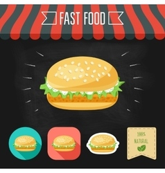Fish burger icon on a chalkboard Set of icons and vector image vector image