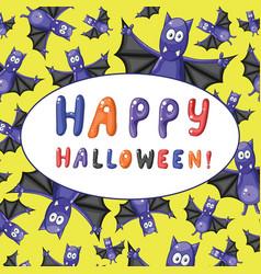 greeting halloween card with cartoon funny bats vector image vector image