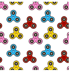 hand spinner seamless pattern on white background vector image
