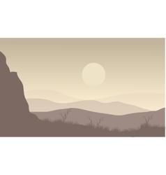 Landscape moon in hills vector image vector image