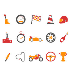 orange race icons set vector image