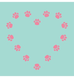 Paw print heart frame empty template vector