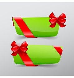 041 Collection of green tag banner with red ribbon vector image vector image