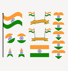 india flag set collection of symbols flag vector image vector image