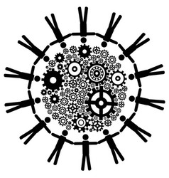 people around gears background vector image
