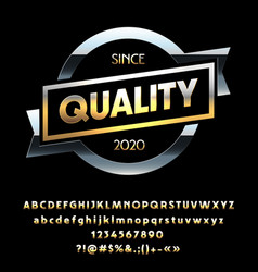 shiny golden label with ribbon quality vector image