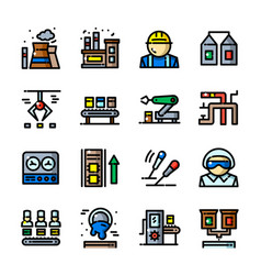 thin line factory icons set vector image vector image
