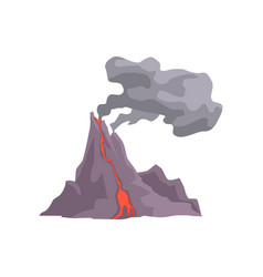 volcano eruption with hot lava magma and dust vector image