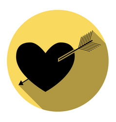 arrow heart sign flat black icon with vector image
