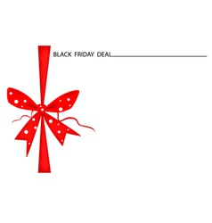 Black Friday Gift Card with Red Ribbon vector image vector image