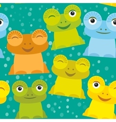 Cute Cartoon funny frog set yellow green blue vector image