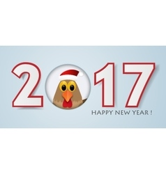 Happy New Year background with rooster vector image