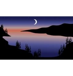 Lake at night scenery vector image vector image